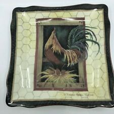 "Rooster Plate by Brenda Harris Tustian 9 3/4"" Square Farmhouse"