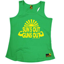 Suns Out Guns Out Gym bodybuilding funny BirthdayWOMENS GIRLIE VEST