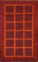 3x5 Modern Gabbeh Kashkoli Oriental Geometric Area Rug Hand-knotted Foyer Carpet
