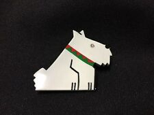 Vintage Marie Christine Pavone Signed White Dog Pin From Paris FS