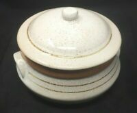 Pottery Craft USA 4 Qt Stoneware Tan / Brown Covered Casserole Stoneware Dish