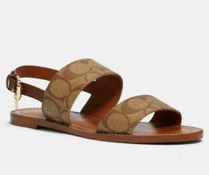 COACH Henny Signature PVC Sandal Khaki/Saddle Size 8.5 NIB
