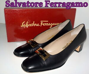 "Luxury  ""Salvatore Ferragamo""  Black  Leather COURT  Shoes UK 7  EU 40   £475"