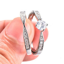5MM Round White Sapphire CZ Ring Set Couple Rings Wedding Band Fashion Jewelry