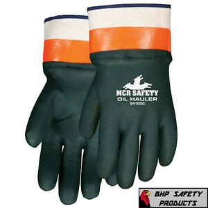 MCR SAFETY CHEMICAL RESISTANT GLOVES DOUBLE DIPPED RUBBER WORK GLOVES SIZE LARGE