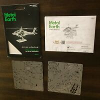 Fascinations Metal Earth 3D Laser Cut Steel Model Kit AH-64 Apache Plane MMS083