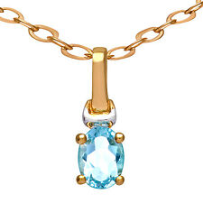 Citerna 9ct Yellow and White Gold Blue Topaz Pendant, 46cm Chain - (PP01516BT)