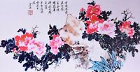 ORIENTAL ASIAN FINE ART CHINESE WATERCOLOR PAINTING-Beautiful Peony flower lover