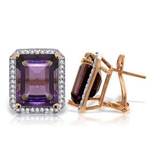 14K Rose Gold Octagon Amethyst Diamond Earrings (11.60 ct)