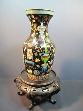 Very Fine Chinese Republic Period Cloisonne Black Noir Vase Mark on Bottom