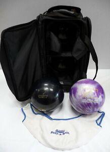Pro Zone & Ebonite Bowling Balls With Wheeled Carry Case