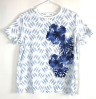 Women's Kim Rogers White Blue Floral Print Round Neck Short Sleeve Blouse Size M