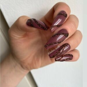 Hand Painted False press On Nails Long Dark Choco Brown And Glitter Full Cover