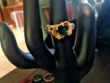 VINTAGE GREEN GEMSTONE COCKTAIL RING SIZE 11.5 WITH SIZER