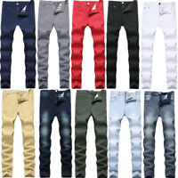 New Mens Stretch Jeans Slim Fit Straight Washed Denim Jean Pants