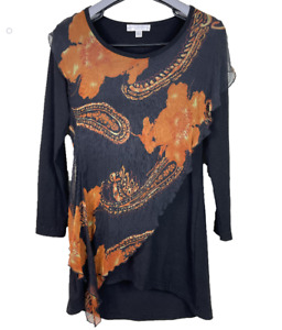 BOO RADLEY AUSTRALIA   Stretch Blouse Top With 100% Silk Overlay   Size S