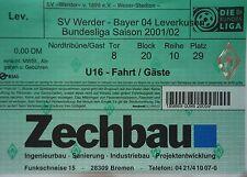 TICKET BL 2001/02 Werder Bremen - Bayer Leverkusen