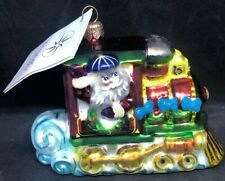 Christopher Radko North Pole Junction Blown Glass Ornament Train Santa Qvc