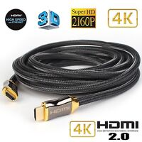 4K Ultra 50FT 25FT 6FT HDMI High Speed Cable v2.0 18Gbps 3D TV 2160p PS4 SKY HD