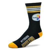 Pittsburgh Steelers For Bare Feet Men's NFL 4-Stripe Deuce Crew Socks SZ M