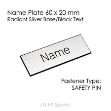 Name Badge Tag Plate Radiant Silver/Black Safety Pin 6x2cm Personalised Engra...