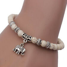 Jewelry Elastic Tibetan Elephant Pendant White Turquoise Beads Party Bracelet