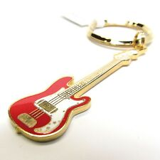 FENDER P-BASS Electric Guitar Key Chain - 24K Gold & Red NWT - Music Gifts