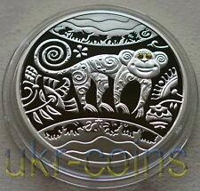 2016 Ukraine  Lunar Year of the Monkey 1/2 Oz Silver Proof Coin Gemstone Eye
