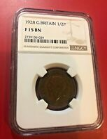 1928 Great Britain 1/2 PENNY NGC F 15 BN