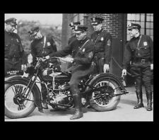 1934 Vintage Harley Davidson Motorcycle Cop PHOTO Poster Advertisement Detroit