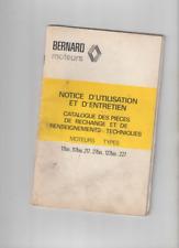 NOTICE UTILISATION  ENTRETIEN MOTEUR BERNARD 17bis 117bis 217 27bis 127 bis 227