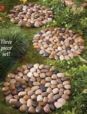 "Round Limestone River Rock Garden Pathway Stepping Stone Mats (Set of 3) 10""Dia"