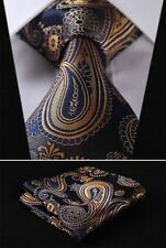 Mens Wedding Tie Woven Gold Blue Yellow Floral Paisley Silk Necktie FREE HANKY