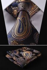 Mens Wedding Tie Gold Blue Yellow Floral Paisley Silk HANKY 629