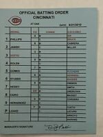 MLB Game Used Cincinnati Reds signed Line Up Card Official Batting Order VOTTO
