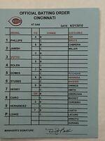 MLB Game Used Cincinnati Reds signed Line Up Card Official Batting Order VOTTO