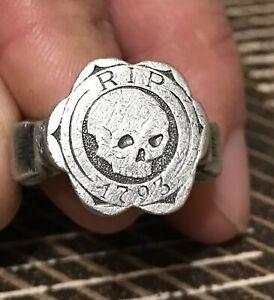 Silver Male Solid Ring Memento Mori |RIP| 1793