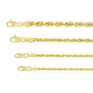 "10K Yellow Gold Light 2mm-4mm Diamond Cut Rope Chain Pendant Necklace 16""- 30"""
