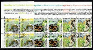Liechtenstein 1758-60 Reptiles Bloque de Cuatro Juego Oo
