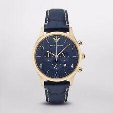 Emporio Armani Men's Classic Chronograph AR1862 Blue Leather Gold-Tone Watch