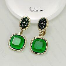Boucles d`Oreilles Clips Puces Doré Art Deco Carré Mini Perle Vintage J2