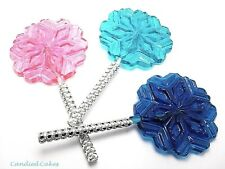 12 SNOWFLAKE LOLLIPOPS with BLING STICKS - FROZEN PRINCESS LOLLIPOP FAVORS