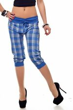 SeXy Miss Damen KaRo CAPRI Knicker SHORTS BERMUDA girly Pump Hose blau Jogger