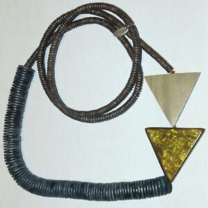 Signed Sylca asymmetrical wood heishi triangles handmade wearable art necklace