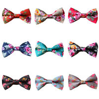 Men's Floral Flowers Adjustable Bow Tie Cotton Pre-tied Wedding Party Bowtie