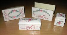 Vintage 4 Piece Porcelain Ladies Desk Set Inkwell Blotter Letter Holder Garland