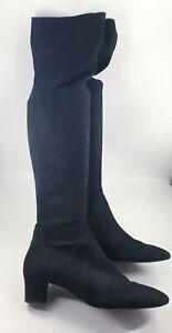 Zara size 7 (40) black faux suede side zip block heel over the knee boots
