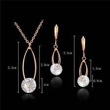 18K Gold Plated Crystal Simple Necklace and Earrings Jewelry Set 47cm