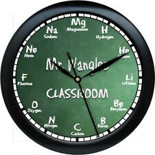 Scientific Periodic Table Personalized Greenboard Wall Clock Chemistry Gift