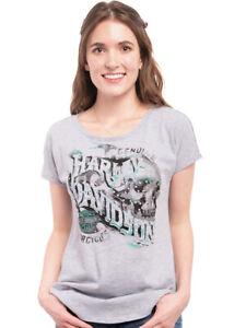 Harley-Davidson Womens Nailhead Skull Steel Grey Dolman Sleeve T-Shirt